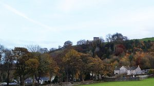 Peveril Castle from Arthur's Way at Castleton