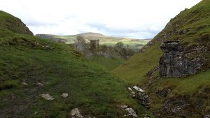 Peveril Castle in Cave Dale above Castleton