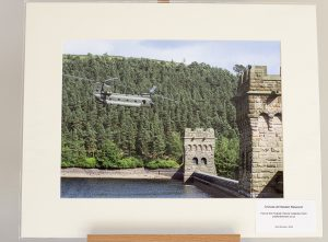 A Chinook Flying through Howden Dam Towers  - Fine Art Giclée Print