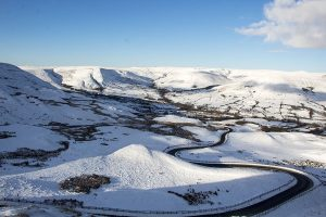 The Road from Edale to Mam Nick with Kinder Scount in The Background