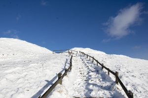 The Path to mam Tor in Snow
