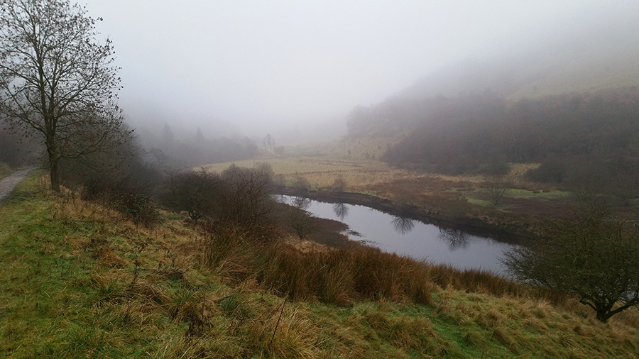 Walking Around a Misty Ladybower Reservoir