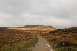 Higgar Tor and Carl Wark taken from Burbage Valley