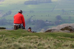 Climbers on Froggatt Edge