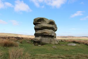 The Eagle Stone behind Baslow Edge