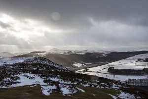 View Over Ladybower from Derwent Edge in The Snow